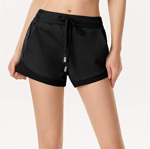 ZYLL Pantalones Cortos para Correr 2 en 1 Pantalones Cortos para Correr Deportes Jogging Pantalones de Gimnasia para Ejecutar Ejercicio de Yoga con Bolsillos,Negro,M
