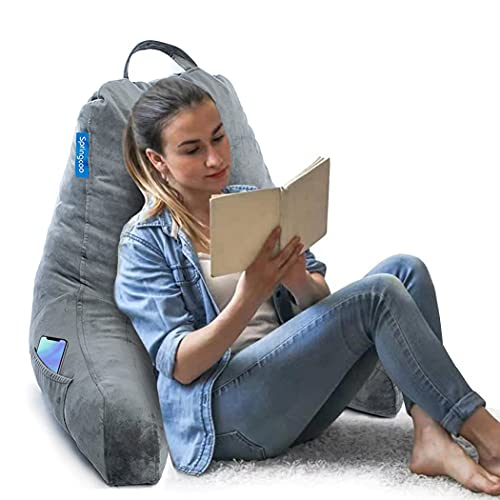 Springcoo Bedrest Reading Pillow-Shredded Foam Reading Pillow with Detachable Neck Roll Pillow For Teens