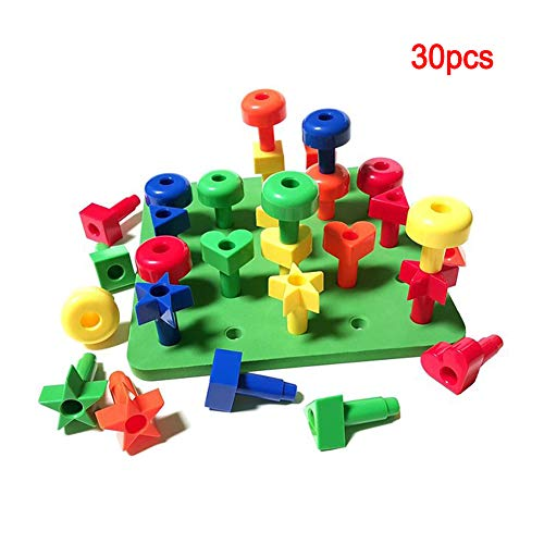 WGXQY Pegs Educational Board Enthält Eine Reihe Von Hellen Farbigen Stapeln Pädagogisches Spielzeug Für Kinder + Pattern Card + Turnbeutel Für Die Lagerung des Spielzeugs + Ebook