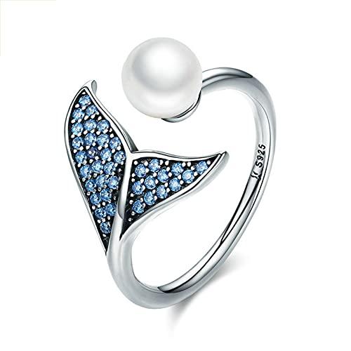 GYAM Anillo De Plata Esterlina S925 Anillo De Perlas con Cola De Sirena Apertura Ajustable Personalidad De Moda Y Sentido del Diseño para Damas,Azul