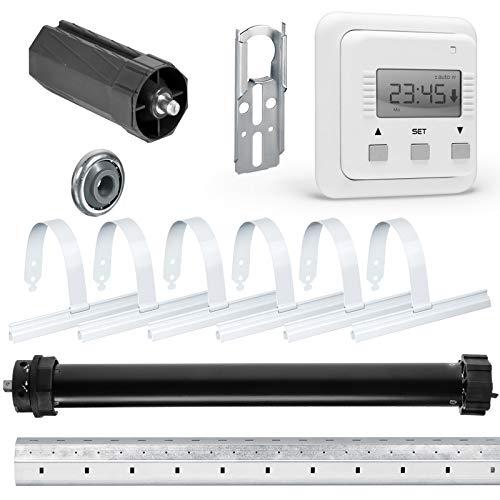 NOBILY Rolladen-Komplett-Set Maxi-Rolladenmotor P5 20/15-60 mit mechanischen Endabschaltern 20Nm/50kg für 60mm (SW60) + Zeitschaltuhr SIMU Relax + Mechanik-Set inkl. 1,50m Welle