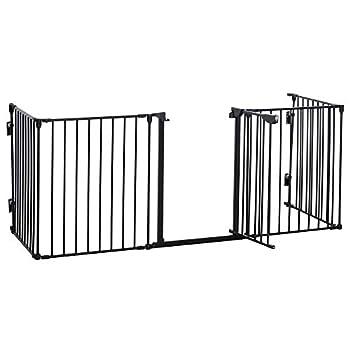 Barrière de sécurité Parc enclos Chien modulable Pliable Porte verrouillable intégrée 300L Max. x 76H cm métal PP Noir