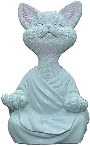 Meditating Cat Statue, Whimsical Buddha Cat Figurine Meditation Collectible, Gold Buddha Cat Meditation Yoga Figurine, Happy Cat Decor Art Sculptures Garden Statues Home Decor (Small, Grey)