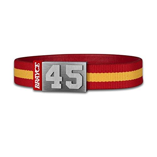 BRAYCE Pulsera de Espagna número del 00 al 99 en los Colores del Club Rojo/Amarillo: una Joya para Aficionados y Clubs (fútbol, Balonmano, Baloncesto, Hockey sobre Hielo)