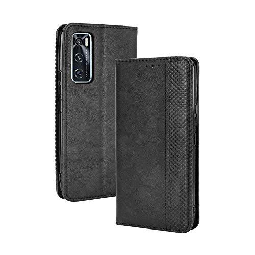 GOGME Leather Folio Cover per Vivo Y70 Cover, PU + TPU Leather Wallet Case, Premium Filp Cover Custodia in Pelle Portafoglio con Funzione Stand, Nero