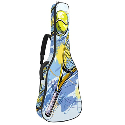 Acoustic Guitar Case for Teens Watercolor tennis Soft Foam Padded for 40 41 42Inch Guitar Gig Bag Backpack with Thick Pillow Cushion, Dual Shoulder Strap&pocket 42.9x16.9x4.7 in
