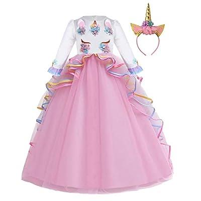 FMYFWY Niña Vestido de Unicornio Princesa Cumpleaños Manga Larga Disfraz de Carnaval Halloween Navidad Fiesta de Cosplay para Chicas Bautizo Comunión Boda Velada Ropa con Diadema Rosa 10-11