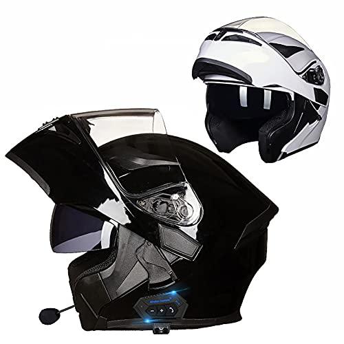 Letetexi Casco Moto Modular Bluetooth Integrado Casco de Motocicleta con Función de Respuesta Automática con Certificación ECE con Gafas De Protección Solar Dual 54~63cm