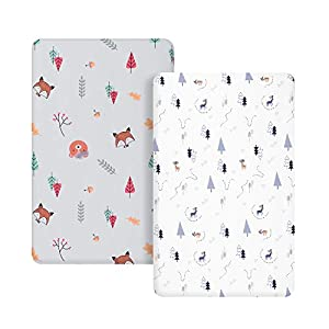 crib bedding and baby bedding tillyou microfiber woodland pack n play sheets, mini portable crib sheets set fitted for boys girls, silky soft breathable printed playard playpen sheets, gray & white woodland