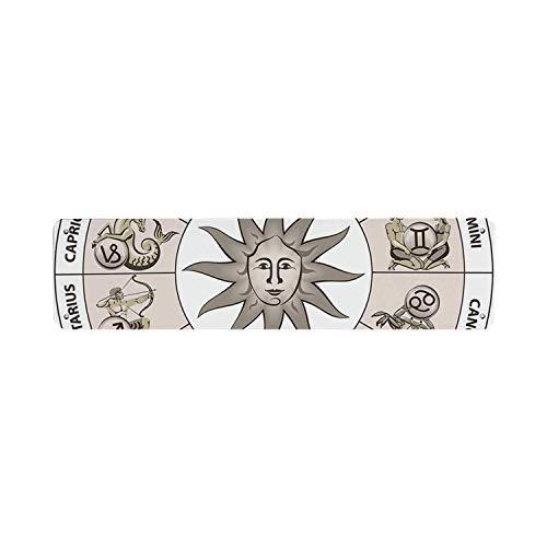 HNNT Astrologie DecorativeTin Sign, hiel cirkel van sterrenbeelden met zon lijken afbeelding in het centrum Art Print 40x10 cm Kennisbord voor Indoor Outdoor Yard Street Signs