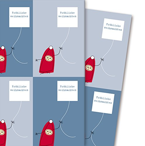 Leuk kerstcadeaupapier met kleine kabouters: Vrolijke kerstmis (4 vellen, 32 x 48 cm) decoratiepapier, papier om in te pakken, voor leuke cadeauverpakking en verrassingen.