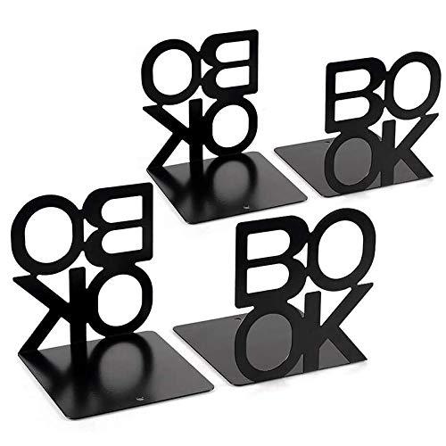 Gesh 2 pares de sujetalibros de metal con diseño de letras para estantes de oficina, decoración de libros antideslizante para libros
