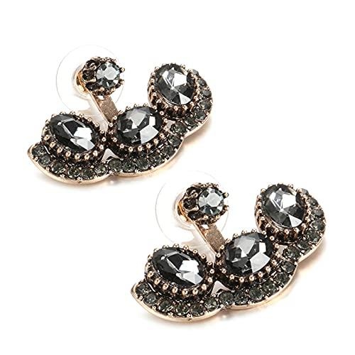 Boho gris cristal pendiente de las mujeres color oro antiguo moda Vintage pendientes de tuerca boda joyería india