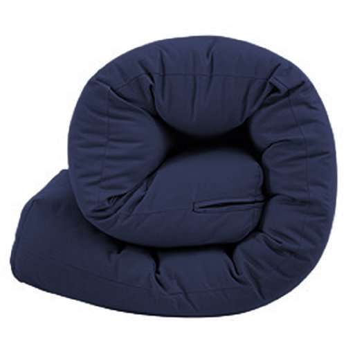 Quality Tufted Sleepover Futon Guest Mattress in 100% Cotton Cover - 2 Seater Navy Blue