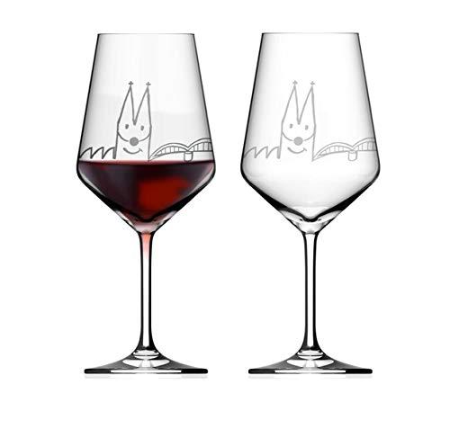 2er Set Weinglas Kölner Skyline Kristallglas Geschenkkarton Weingläser Wein Glas