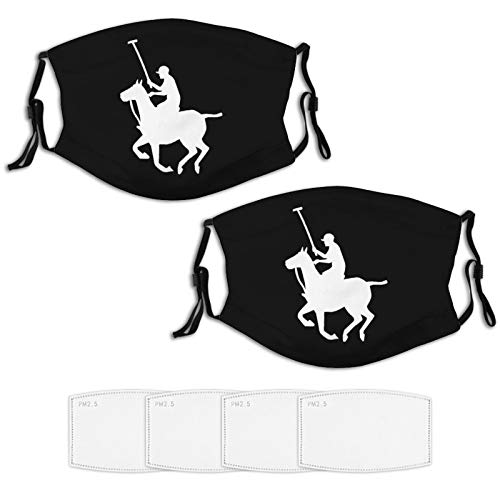 Horse Sports Polo Player 2 Piece Face Masks Set Plus 4 Replaceable Air Filters Washable Reusable Adjustable Black Disposable Cloth Bandanas Scarf for Adults Men Women