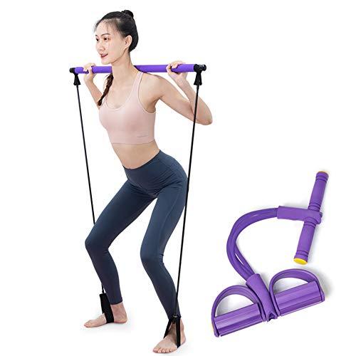 LTLGHY Pilates Stick Bar Kit Mit Widerstands Band Multifunktionale Yoga Rute Mit Fußschlaufe Sportübung Fitnessgeräte Expander Arm Zieher Für Zuhause Fitnessstudio Bodybuilding Training,Lila