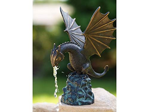 IDYL Bronze Figur Wasserspeiender Drache Fontaine Höhe 22 cm