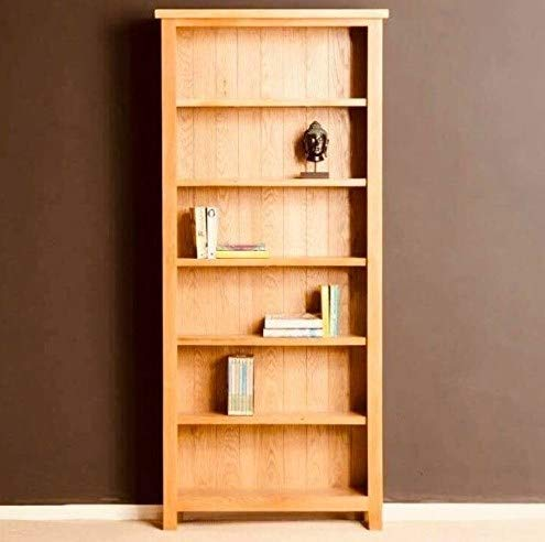 Vintage Home Tall Oak Bookcase Solid Wood Furniture Rustic Shelving Unit Large Wooden Display Cabinet Chunky Brown Corner Bookshelf 6 Tier Shelves Office Bedroom Living Room Tower Rack Wide Narrow