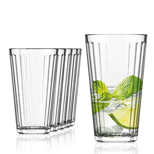 SAHM Vasos de Agua | Juego de Vasos Cristal de 410ml | 6 Unidades | Ideal como Copas Gin Tonic, Vasos Cubata y Vasos Mojito | Apto para lavavajillas
