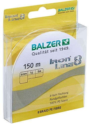 Balzer Iron Line 8-150m geflochtene Schnur zum Spinnfischen, Farbe:Gelb, Durchmesser/Tragkraft:0.10mm / 8.1kg