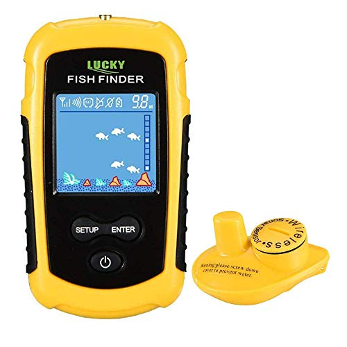 LUCKY Wireless Fish Finder Kayak Fish Finder for Boat Fishing Anti-UV LCD Display Sonar Sensor Transducer Depth Finders for Kayak Ice Fishing Sea Fishing Canoes Fishing
