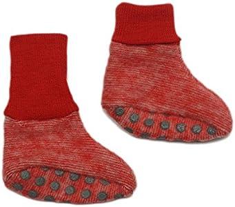 Cosilana, Patucos de forro polar para bebé, 60% lana de cultivo ecológico y 40% algodón KBA (a partir de 62/68 con botones), color Rojo, talla 6-12 meses