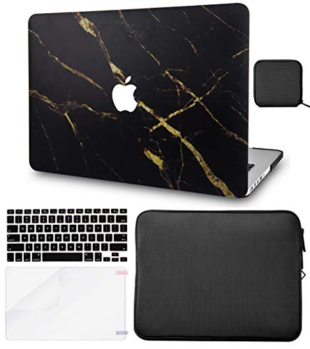 LuvCase 5in1 Laptop Case for Old MacBook Pro 13' Retina Display (2012-2015) A1502/A1425 Hard Shell Cover, Slim Sleeve, Pouch, Keyboard Cover & Screen Protector (Black Gold Marble)