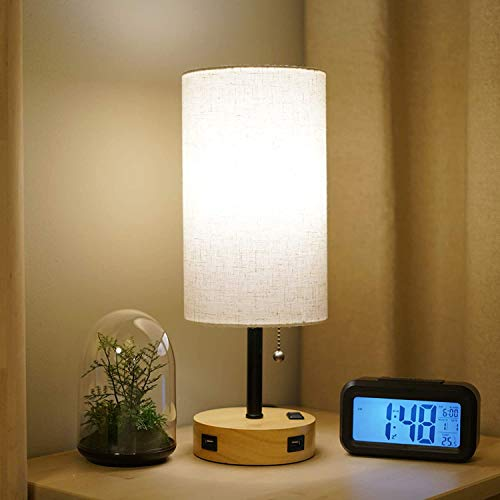 Table Lamp, Bedside Lamp with USB Port and Outlet, Nightstand Lamps for Bedrooms, Table Lamps for...