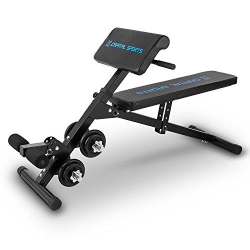 Capital Sports Varient Shape Line - Hantelbank, Trainingsbank, Fitnessbank inkl. Kurzhantel Set mit 20 kg, 4 Neigungswinkel, Fußfixierung: 3-stufig Tragkraft: max. 160 kg