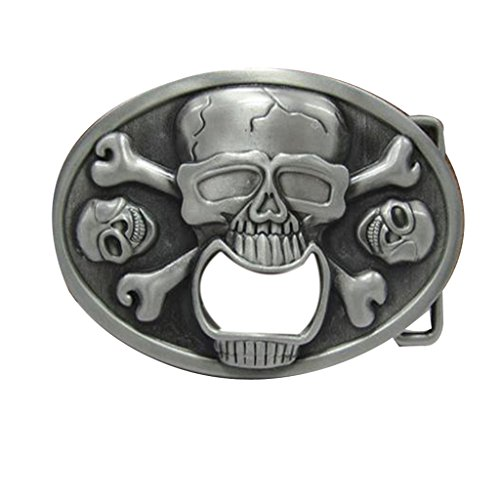 YONE Oval Skull Bottle Opener Belt Buckle Boucle de ceinture