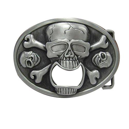 YONE Oval Skull Bottle Opener Belt Buckle Boucle de ceinture