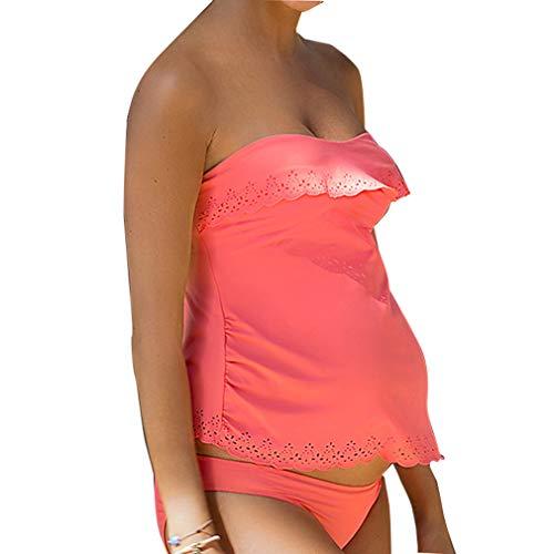 Bañador de Maternidad Natacion Traje de baño Embarazada 2 Piezas Ahuecar Bikinis Embarazo Tankini Premama Ropa de Baño Rosa/2xL