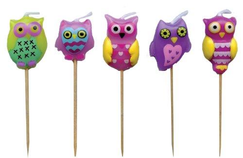 Unbekannt 5 Minikerzen * EULEN * auf Holzhalter für Party und Geburtstag // Kerzen Eule Kuchen Torte Deko Candle Owl