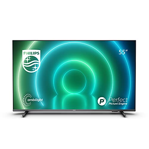 Philips 55PUS7906 12 55-Pollici LED Android TV, 4K Smart TV con ambilight, vibrante immagine HDR, dolby vision cinematografico e suono atmos, compatibile con google assistance e Alexa, nero