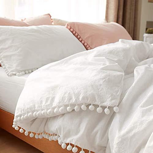 Pom Pom Duvet Cover Queen Size - 3 Piece Boho Bohemian Farmhouse Microfiber Comforter Cover Set - Soft and Lightweight Quilt Cover, Solid White Pompom