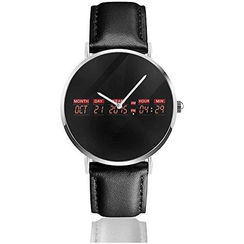 Unisex Business Casual Delorean Time Machine Zurück in die Zukunft Uhren Quarz Leder Uhr