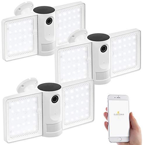 VisorTech Überwachungscamera: 3er-Set Full-HD-IP-Überwachungskameras mit LED-Strahler, WLAN, App (Sicherheitskamera)