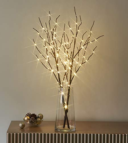 LITBLOOM Lighted Brown Willow Branches with Timer Battery Operated Tree Branch with Warm White Lights for Holiday and Party Decoration 32IN 100 LED Waterproof
