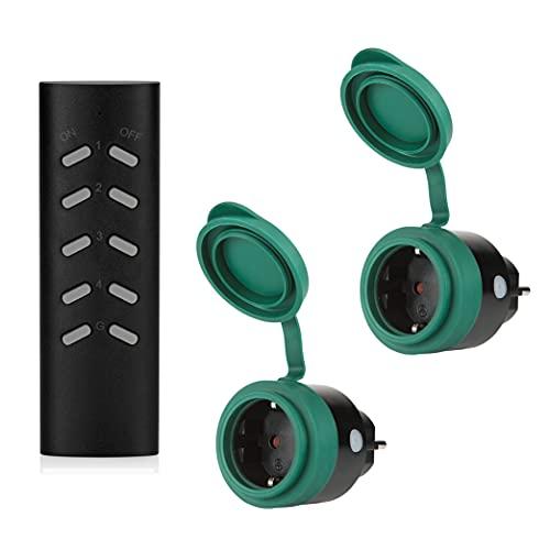 SEC 24 Funksteckdosenset Aussen, Steckdosen mit Fernbedienung, 2 Steckdose Outdoor Funkschalter mit 1 Fernbedienung,3680W,Spritzwassergeschützt für Hausgerate Außenbereich
