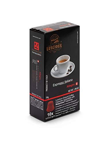 Luscioux Allegro Capsule Caffè Compatibili Nespresso | Confezione da 10x10 (100 Capsule) - Aroma Intenso