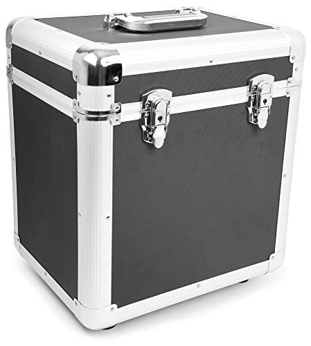 Power Dynamics RC100 Maleta para discos de vinilo (rack portátil para 100 discos LPs de 12', interior de gomaespuma, ligero armazón) - negro