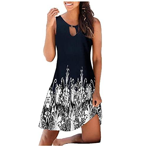 FQZWONG Women's Boho Summer Dress V-neck Print Hollow Out Sleeveless Loose Skirt Dress (C-Blue,3X-Large)
