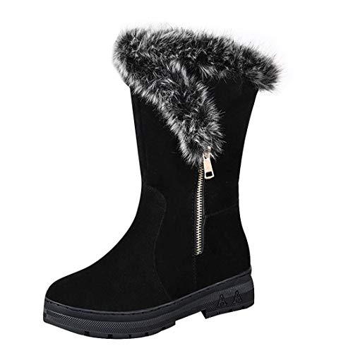 Women Winter Snow Boots Ladies Solid Color Non-Slip Plush Velvet Warm Mid-Tube Booties (Black, 6-Women-US)