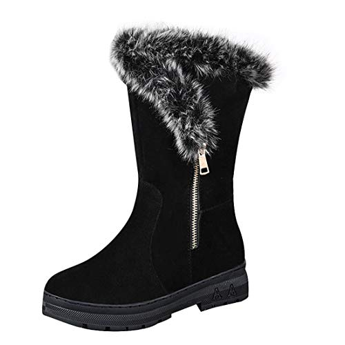 Women Winter Snow Boots Ladies Solid Color Non-Slip Plush Velvet Warm Mid-Tube Booties (Black, 8.5-Women-US)