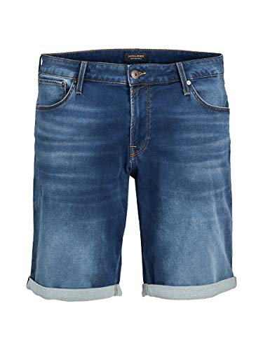JACK & JONES Male Plus Size Jeans Shorts Rick Icon Indigo Knit 44Blue Denim