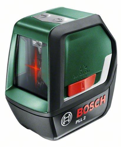 Bosch PLL 2 Kreuzlinienlaser + Zielplatte + Schutztasche (Arbeitsbereich 10m, Nivelliergenauigkeit ±0,5 mm/m)