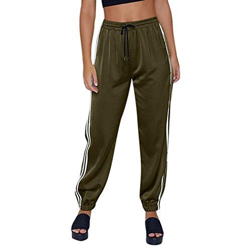 AMUSTER Damen Gestreift Leggings Hose Hohe Taille Pants Sport Fitness Workout Leggins Elastische Dünne Hosen Damenhose Satinhose Satin...