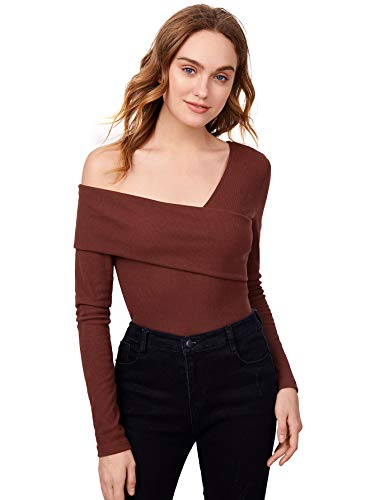 Romwe Women's Casual Cross Off Shoulder Deep V Neck Ribbed Knit Slim Wrap Tee Shirt Blouse Brown Large
