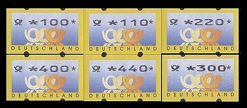 Goldhahn BRD ATM3.2 VS1 postfrisch  mit rückseitiger Nr. 100 110 220 300 400 440 Pfennig Posthorn+Wertziffern fett Briefmarken für Sammler
